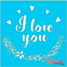 Standard Brilliant Blue Color Material Stencil - I Love You Hearts & Wreath DIY Wedding & Keepsake Sign Making Template-XS (8