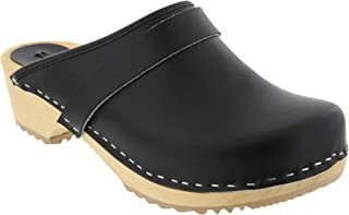 Bjork Maja Wood Open Back Leather Clogs