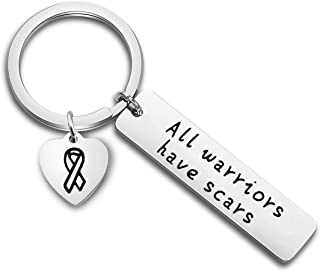 FUTOP All Warriors Have Scars Keychain Cancer Awareness Jewelry Warrior Gift for Breast Cancer,Multiple Sclerosis