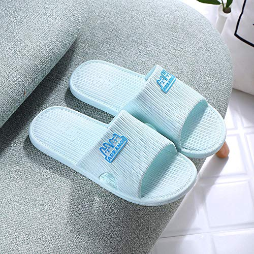 quming Zapatillas De Zapatos Playa Piscina Unisex,Zapatillas de Interior de Dibujos Animados de Fondo Suave, Sandalias de baño Antideslizantes-Azul Claro_36-37