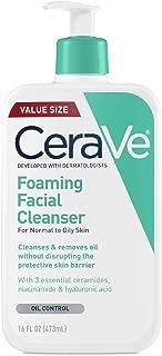 CeraVe 泡沫洁面乳 适合油性皮肤日常面部清洁 无香16盎司(473ml)