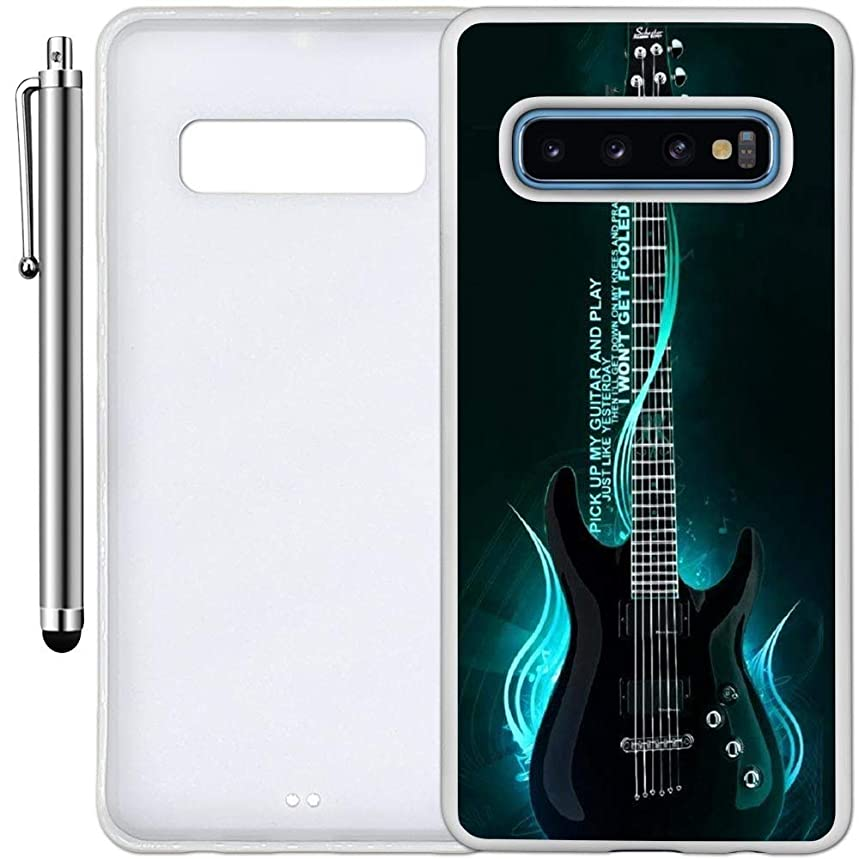 Custom Case Compatible with Galaxy S10 (One Cool Electric Guitar) Edge-to-Edge Rubber White Cover Ultra Slim | Lightweight | Includes Stylus Pen by Innosub
