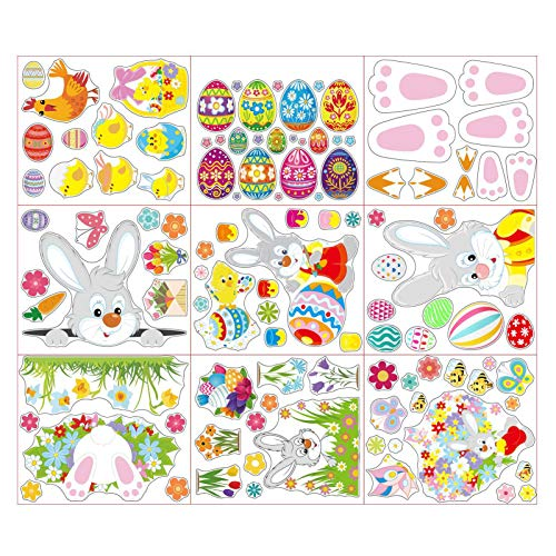 9Pcs Kitchen Cabinet Wall Sticker, Decorative Rabbit Figure Design Wall Poster for Suitcase