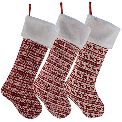 Set of 3 Striped Traditional Knit Style Red and White Christmas Stockings
