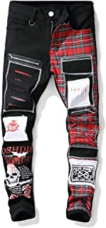 Men's Plaid Patchwork Destroyed Skull Printed Slim Fit Straight Leg Ripped Jeans Pants with Zippers and Holes Patches