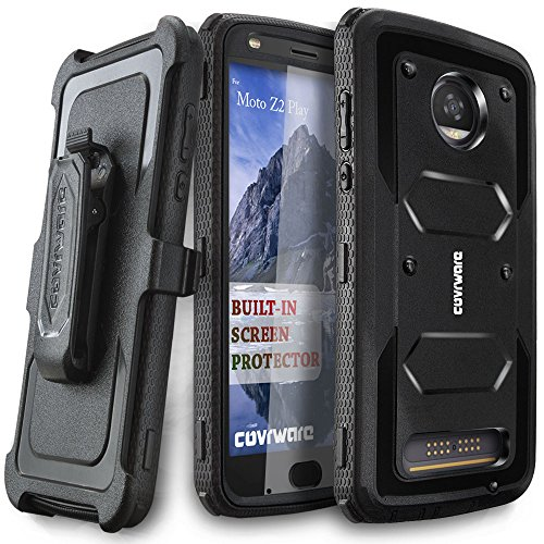 Moto Z2 Play / Z2 Force Case, COVRWARE [Aegis Series] w/Built-in [Screen Protector] Heavy Duty Full-Body Rugged Holster Armor Case [Belt Swivel Clip][Kickstand] for Moto Z2 Play / Z2 Force, Black