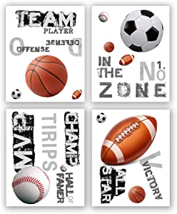 Sports Themed Art Paintings-inspirational Words, Basketball Football Baseball Soccer Sport Art Print Decoration, Play room, Kid's room, Boys Room Canvas Poster, Set of 4 (Unframed, 8