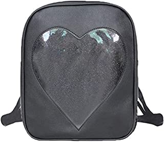 Women Candy Backpacks Transparent Heart Pu Leather Beach School Bag C