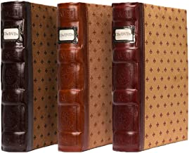 Bellagio-Italia Tuscany DVD Storage Binder Assortment 3-Pack - Stores Up to 144 DVDs, CDs, or Blu-Rays - Includes 1 Cognac, 1 Chestnut, and 1 Crimson