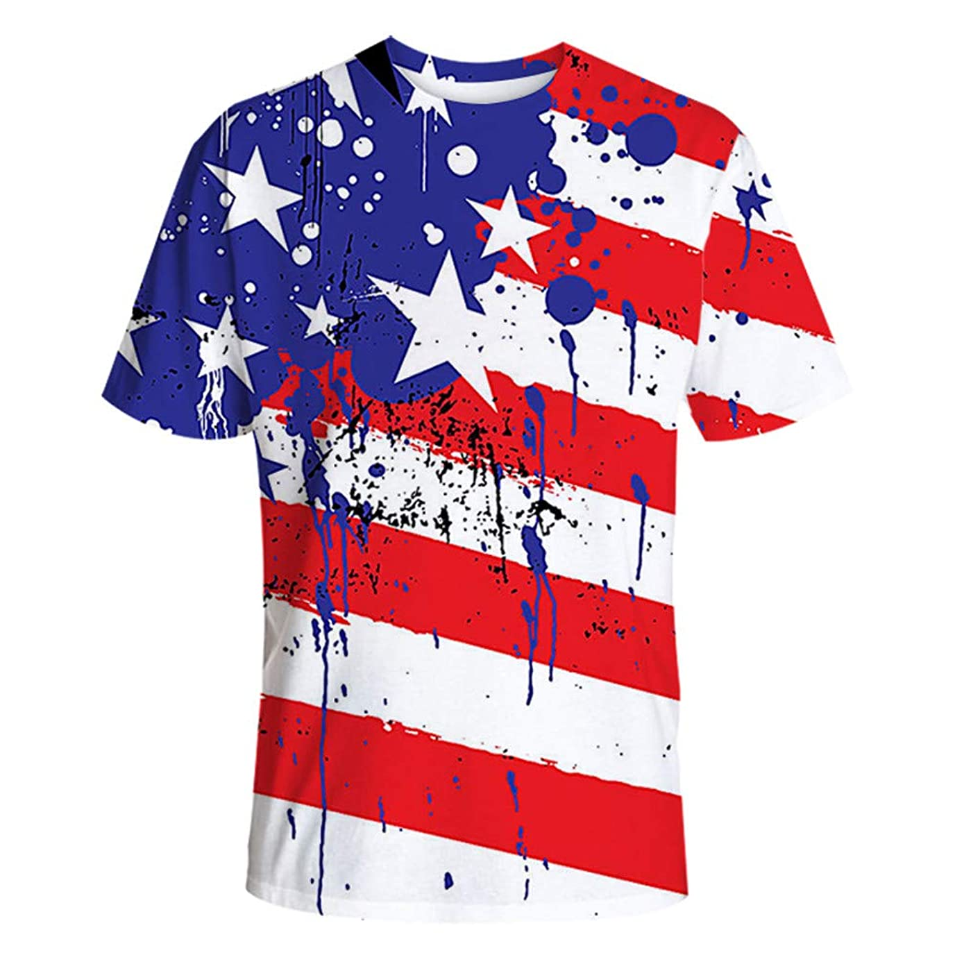 OTINICE Men USA Independence Day Shirts Boys Stars and Stripes Summer Loose T-Shirt Tops