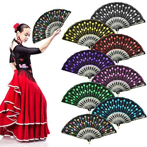 EMAGEREN 8 Piezas abanicos de Mano Plegables Abanicos Españoles con Lentejuela Abanico para Flamenco de Colores Abanico de Tela y Plastico para Verano/Fiesta/Baile/Regalo/Boda/Decoracar de Pared
