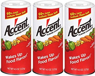 Ac'cent Flavor Enhancer 00054 All Natural 4.5 Oz. Wakes Up Food Flavor Canister (Pack of 3); Ideal for Meats, Poultry, Veg...