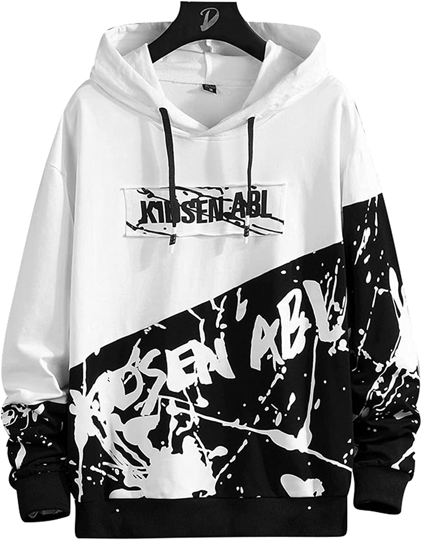 Men's Pattern Print Hoodies Letter Streetwear Hip Hop Fashion Casual Pullover Sweatshirt