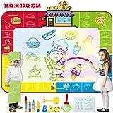 Fivejoy Tappeto Magico Bambini, 150*120cm Doodle Tappeto Magico Tema dello Chef di Cibo - Tappetto Gioco Bambino con Pennello, Grande Tappeto Magico da Disegno Giochi Bambini/Bambina 2 Anni