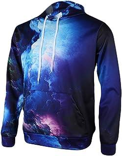 QingDG Unisex 3D Printed Fleece Hooded Sweatshirt Casual Pullover Hoodie With Big Pockets