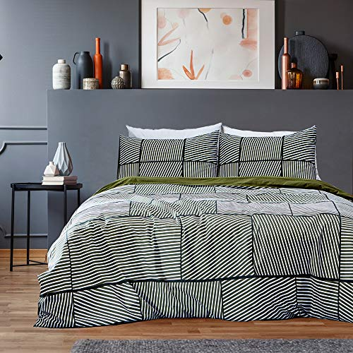 LUX GEO Green Cotton Duvet Cover Set -Reversible Design | Geometric Pattern | Clipped Jacquard Stripes | Unisex Print Bedding with 4 Corner Ties - Queen Size (90' x 90') -with 2 Pillow Shams