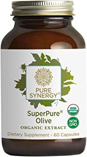 Pure Synergy USDA Organic SuperPure Olive Leaf, Oil, Fruit Extract (60 Capsules) w/Oleuropein & Hydroxytyrosol