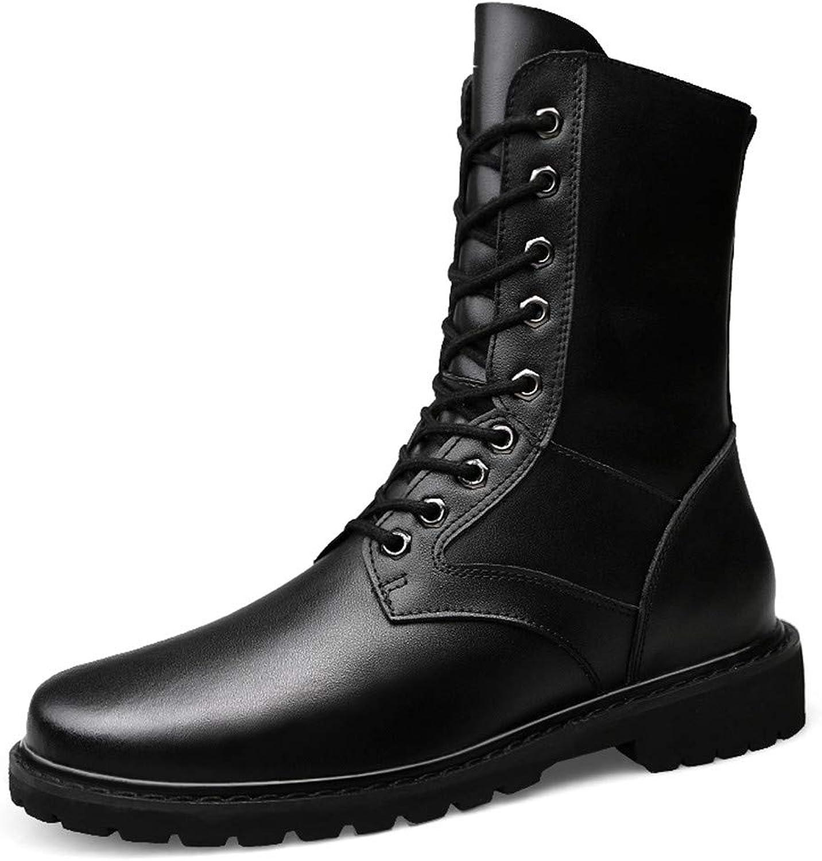 JIALUN-Schuhe Herrenmode Mitte der Wade Stiefel Casual Upgrade Eedition Echtleder Nachahmung Armee Stiefel (warme Samt optional) (Farbe   Warm schwarz, Größe   39 EU)