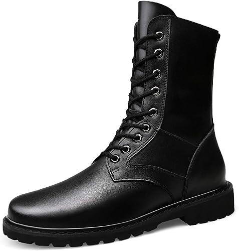 SRY-Chaussures de Mode Bottes mi-molletées pour Hommes et Femmes Décontracté Upgrade Eedition Bottes de l'armée Imitation Cuir véritable (Warm Velvet en Option) (Couleur   Noir, Taille   40 EU)