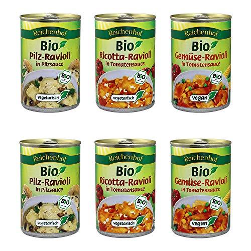 Reichenhof Bio Ravioli 6er Box: Ricotta-Ravioli, Gemüse Ravioli, Pilz-Ravioli, 6er Pack (6 x 400 g)