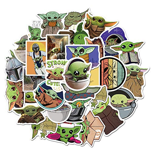 50PCS Baby Yoda Laptop Stickers for Adult, Waterproof Decals Stickers for Water Bottle Laptop Skateboard Motorcycle Car Bike Luggage Trolley Case Decoration
