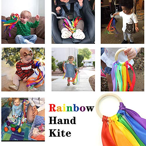Montessori Sensory Toys Rainbow Color Ribbon Hand Kite Montessori Baby Ribbon Toy Learning Educational Toys for Toddler Gift for Kids