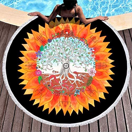 Viking Yggdrasil Tree of Life Vegvisir Print Super Soft Round Beach Towel with Tassels Holiday Fringe Beach Mat White 59 inch