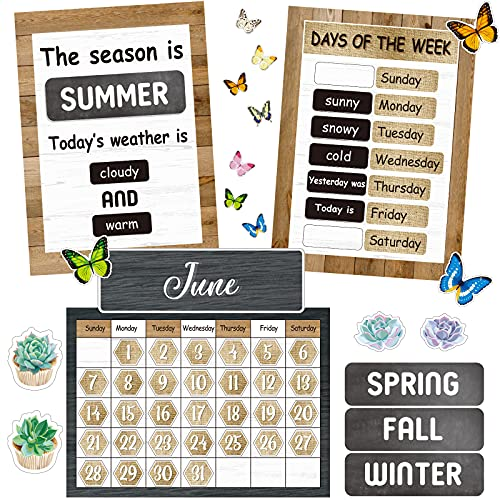 87 Pieces Rustic Calendar Bulletin Board Set Classic Classroom Bulletin Board Decoration with Calendar  Monthly Headers  Days of The Week Seasons Weather Charts for Classroom Decor 13.4 x 9.7 inch