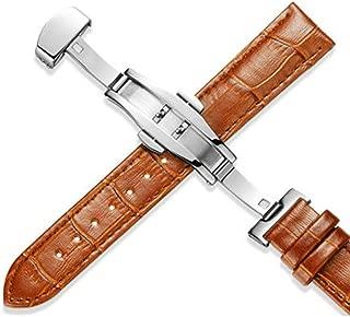 Genuine Leather Watchbands 12 24mm Universal Watch Butterfly Buckle Band Steel Buckle Strap Wrist Belt Bracelet + Tool,Light Brown,24mm