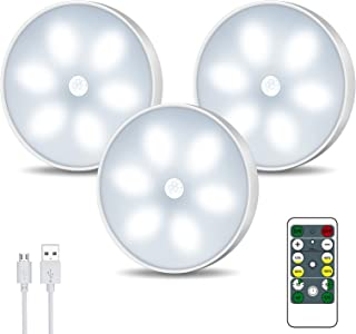 LED Closet Lights Wireless Motion Sensor Puck Light, Newest Version USB Rechargeable Dimmer Step Light with Remote, Night ...