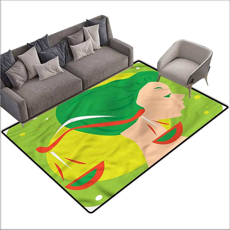 Carpet for Living Room Zodiac Libra,Green Hair Woman Scale 48