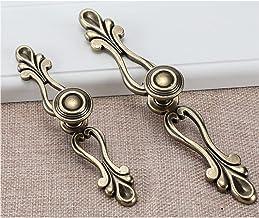 Dreneco 2pcs Bronzen kleerkastgrepen Europese stijl zwarte kastladegrepen Antieke rustieke meubelgrepen (Brons, 133mm)