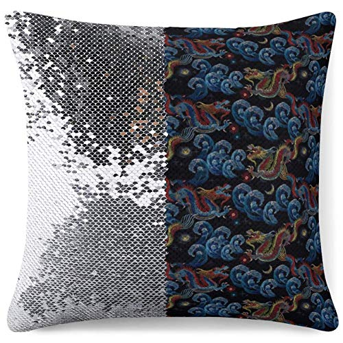 Personalized Sequin Pillow Case Decorative Pillowcase Chinese Dragons Sea Wave Party Office Decor Silver Sequins Throw Cushion Cases (16 in x 16 in) 40 cm x 40 cm