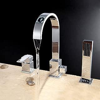 Lovedima Chrome 3pcs Waterfall Spout Single Handle Bathtub Filler Faucet with Hand Shower
