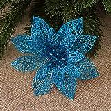 zorpia 10 Pcs Glitzy Lake Blue Poinsettia Bushes Christmas Tree Ornaments, Glitter Poinsettia Flowers Christmas Decorations (Lake Blue)