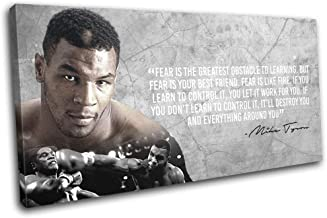 Bold Bloc Design - Boxing Quote Iron Mike Tyson Sports 80x40cm Single Canvas Art Print Box Framed Picture Wall Hanging - H...