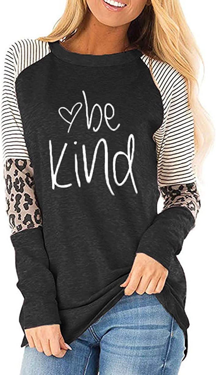 Fronage Womens Leopard Print Tops Long Sleeve Casual Loose Fit Shirts Color Block Tunics