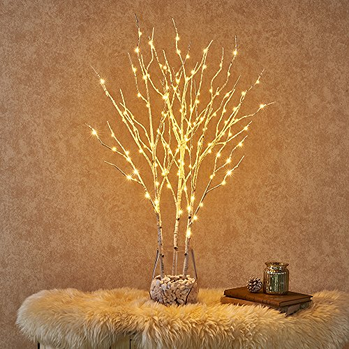 Hairui Lighted Twig Birch Branch with LED Lights 32in 150LED Plug in Waterproof for Christmas Thanksgiving Holiday Indoor Outdoor Use 3 Pack (Vase Excluded)
