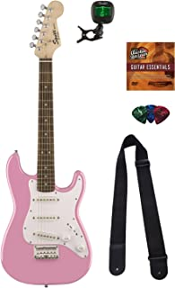Squier by Fender Mini Strat Electric Guitar - Pink Bundle with Tuner, Strap, Picks, Austin Bazaar Instructional DVD, and Polishing Cloth