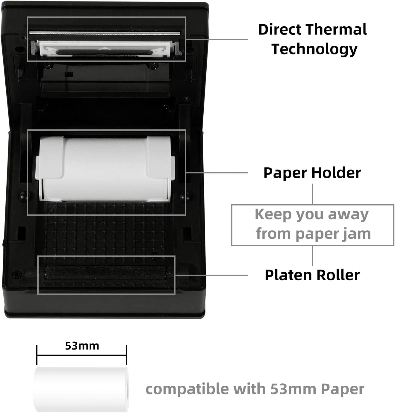 Journal Ice Cream Green Portable Bluetooth Thermal Printer Sticker Printer Compatible with iOS DIY Phomemo M02 Mini Pocket Printer Study Notes Memorandum Android for Home Organizing