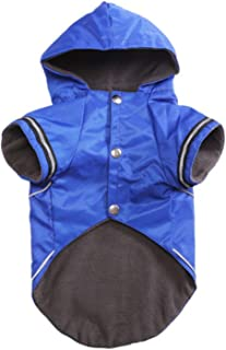 PG-One Puppy Raincoat Clothes Winter Warm with Hood Dogs Clothing Jacket Warm Fleece Puppy Rain Clothes Pet Coat Hoodie