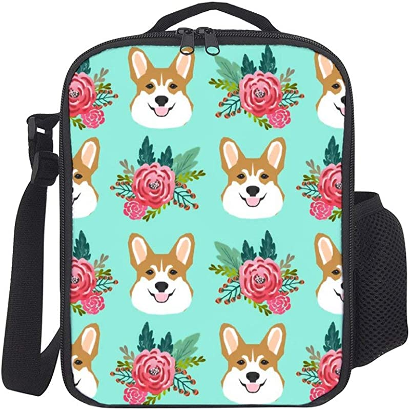 SARA NELL Kids Lunch Backpack Lunch Box Corgi Dog Mint Cute Corgis Flowers Florals Lunch Bag Large Lunch Boxes Cooler Meal Prep Lunch Tote With Shoulder Strap For Boys Girls Teens Women Adults