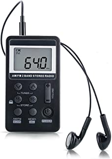 AM FM Radio,Mini Portable Pocket Radio Receiver with Earphone,Rechargeable Battery for Walk/Jogging/Gym/Camping (Black)