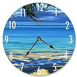 Stupell Industries Palm Tree Shadows Decorative Vanity Wall Clock, 12 x 0.4 x 12, Multi-Color