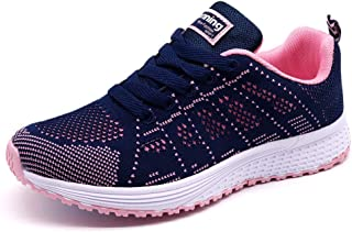STQ Walking Shoes for Women Casual Lace Up Lightweight Tennis Running Shoes Purple Size: 6.5