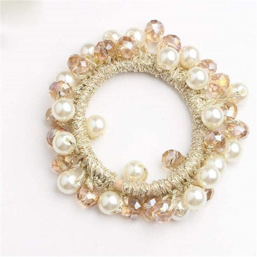 DSSJG Fashion Hair Tie Rhinestone Crystal Pearl Hair Band Rope Elastic Ponytail Holder Rubber Scrunchies Hair Accessories for Women Headband (Color : Rose Gold)