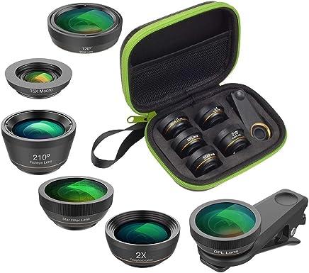 Phone Camera Lens Kit 6 in 1 Fish Eye Lens 210 Degree Wide Angle Macro Lens