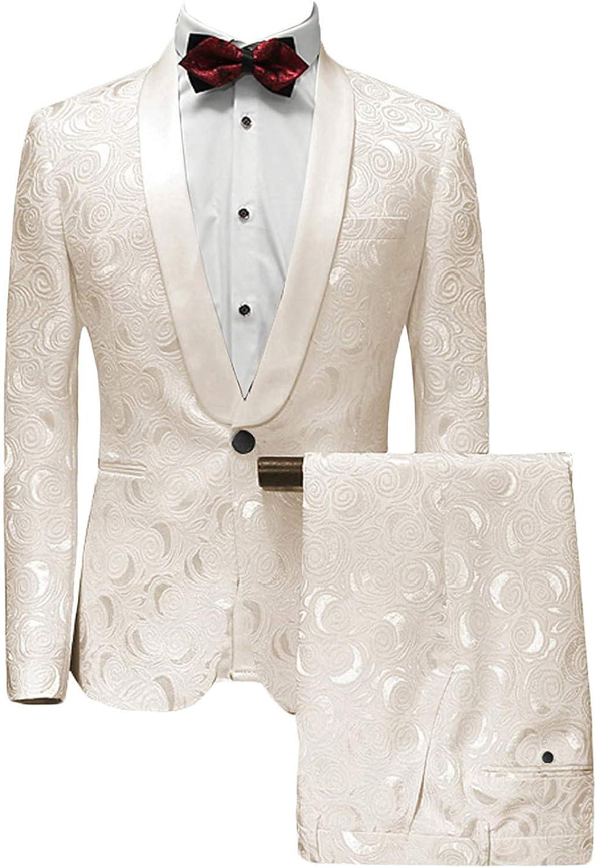 Wemaliyzd Men's 2 Pieces Patterned Suit Jacket Slim Fit Separate Trousers