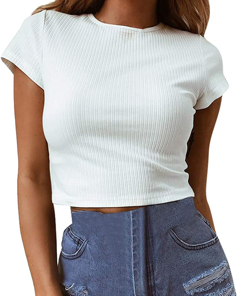Womens Short Sleeve T-Shirt Casual Basic O-Neck Solid Color Fashion Sexy Slim Fit Blouse Tunics Crop Tops
