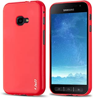 J&D Case Compatible for Galaxy Xcover 4 Case, [Drop Protection] [Slim Cushion] Shock Resistant Protective TPU Slim Case for Samsung Galaxy Xcover 4 Bumper Case - Red